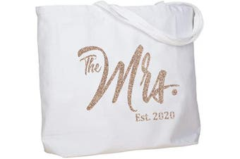 (Champagne Mrs. 2020) - ElegantPark Future The Mrs. EST. 2020 Personalised Bride Tote Wedding Bachelorette Bridal Shower Gifts Large Shoulder Bag White with Champagne Glitter