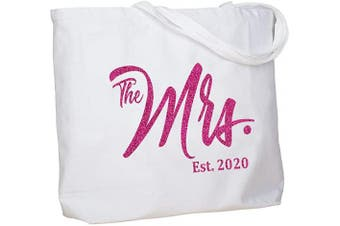 (Hot Pink Mrs. 2020) - ElegantPark Bride Gifts Shower Gifts for Bride Bag Future Mrs 2020 Mrs Bag Mrs Gifts Bride to Be Gifts Wedding Gifts for Bride Personalised Tote Bag with Pocket Cotton White with Hot Pink Glitter