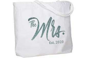 (Aqua Mrs. 2020) - ElegantPark Personalised Bridal Shower Gifts for Bride Bag Future Mrs 2020 Mrs Bag Bride Gifts Wedding Gifts for Bride Tote Bag Cotton with Pocket White with Aqua Glitter