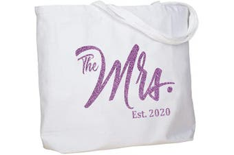 (Purple Mrs. 2020) - ElegantPark Future The Mrs. EST. 2020 Personalised Bride Tote Wedding Bachelorette Bridal Shower Gifts Large Shoulder Bag White with Purple Glitter