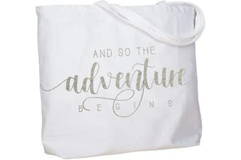 (Adventure Silver) - ElegantPark And So the Adventure Begins Wedding Bride Tote Bachelorette Party Gift Personalised Travel Shoulder Bag Canvas White with Silver Glitter