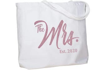 (Rose Gold Mrs. 2020) - ElegantPark Personalised Bridal Shower Gifts for Bride Bag Future Mrs 2020 Mrs Bag Bride Gifts Wedding Gifts for Bride Tote Bag Cotton with Pocket White with Rose Gold Glitter
