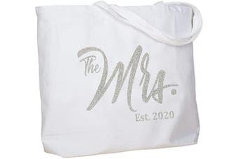 (Silver Mrs. 2020) - ElegantPark Future The Mrs. EST. 2020 Personalised Bride Tote Wedding Bachelorette Bridal Shower Gifts Large Shoulder Bag White with Silver Glitter