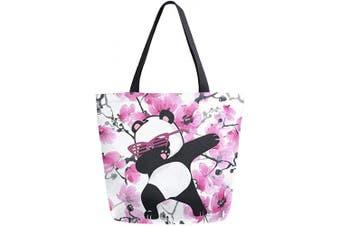(Multi 21) - Naanle Japanese Panda Canvas Tote Bag Large Women Casual Shoulder Bag Handbag, Cherry Blossom Reusable Multipurpose Heavy Duty Shopping Grocery Cotton Bag for Outdoors.