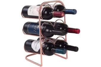 (Rose Gold-curved) - Buruis Metal Curved Wine Rack, Modern Countertop Wine Holder Stand for Red & White Wine Storage, 6 Bottle Wine Organiser for Home Decor, Tabletop - Copper