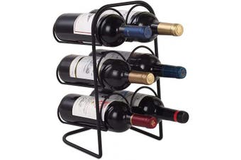 (Black-curved) - Buruis Metal Curved Wine Rack, Modern Countertop Wine Holder Stand for Red & White Wine Storage, 6 Bottle Wine Organiser for Home Decor, Tabletop - Black
