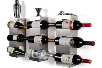 brightmaison 9 Bottle Wine Rack Wall Mounted and Stackable Bottle Rack Holder Storage Organiser with Top Shelf Design for Modern Decor, Metal, Set of 3 (Holds 9 Bottles)