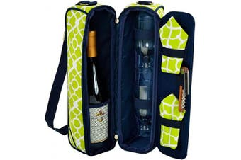 (Trellis Green) - Picnic at Ascot - Deluxe Insulated Wine Tote with 2 Wine Glasses, Napkins and Corkscrew - Trellis Green