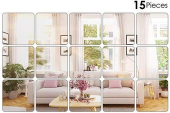 (20cm  x 20cm ) - BBTO 15 Pieces Mirror Sheets Flexible Non Glass Mirror Plastic Mirror Self Adhesive Tiles Mirror Wall Stickers (20cm x 20cm )