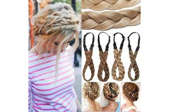 (Large-3.8cm , Sandy Brown mix Bleach Blonde) - Fashion Hair Extensions Braided Headband Hair Braid Hair Band Thick Chunky Plaited Hairband Accessory Costume Hairpiece For Women Girls Large-3.8cm Sandy Brown mix Bleach Blonde