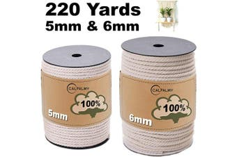 (5mm+6mm) - TWO Macrame Cord Rolls in 5mm and 6mm x 110 Yards Long | 100% Unbleached Cotton Macrame Rope with Triple Strands | DIY Home Decor Arts and Crafts Projects –Planters, Wall Decorations and Gift Wrapping
