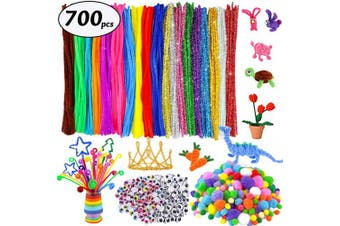 700Pcs Pipe Cleaners Craft Supplies for Kids Toddlers Including 200Pcs 20 Colours Chenille Stems Pipe Cleaners (6 mm x 12 Inch), 250pcs Pom Poms for Crafts,250Pcs Wiggle Eyes for DIY Art Creative Craft