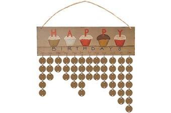 Wooden Calendar Hanging DIY Calendar Pendant Birthday Reminder Board Plaque Craft Gift Hanging Tags for Home Living Room Unisex