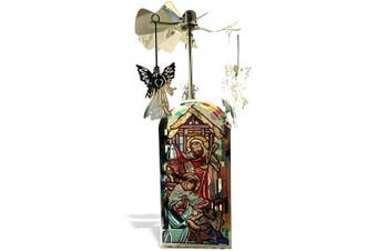 BANBERRY DESIGNS Nativity Candle Holder - Spinning Candle with Nativity Scene and Rotating Angel Charms - Tea Light Candle Included