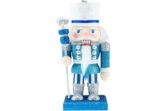 (04-blue With Scepter) - Clever Creations Wooden King Christmas Nutcracker | Blue, Silver, White with Sceptre | Premium Festive Traditional Christmas Decor | 15cm Tall Perfect for Shelves and Tables