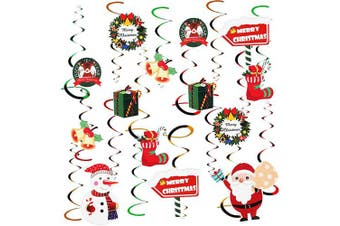 Aipaide Christmas Hanging Swirl Decorations Kit,32 Pcs Ceiling Swirl Decoration Santa Claus Snowman Socks Gift Box Bell for Christmas Party Supplies Xmas Decor