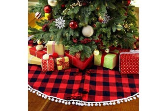PartyTalk 120cm Christmas Tree Skirt Red and Black Buffalo Plaid Tree Skirt with Pom Pom Trim for Holiday Christmas Decorations, Double Layers Xmas Tree Skirt