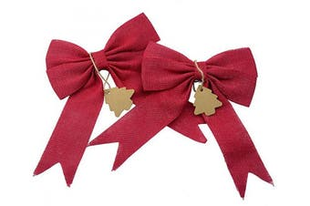 (Christmas Red) - Aokbean Set of 2 Wedding Decor Bows Christmas Tree Topper Bow Rustic Decor Burlap (Christmas Red)