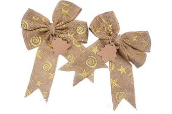 (Xmas Gold) - Aokbean Set of 2 Wedding Decor Bows Christmas Tree Topper Bow Rustic Decor Burlap (Xmas Gold)