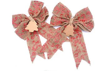 (Xmas Red) - Aokbean Set of 2 Wedding Decor Bows Christmas Tree Topper Bow Rustic Decor Burlap (Xmas Red)