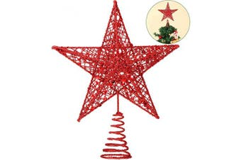 (Red) - Blulu 25cm Christmas Tree Star Topper Xmas Tree Topper Star Christmas Decoration Glittered Tree-top Star (Red)