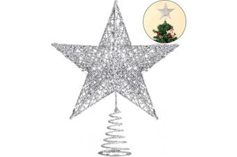 (Silver) - Blulu 25cm Christmas Tree Star Topper Xmas Tree Topper Star Christmas Decoration Glittered Tree-top Star (Silver)