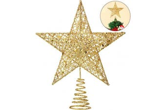 (Gold) - Blulu 25cm Christmas Tree Star Topper Xmas Tree Topper Star Christmas Decoration Glittered Tree-top Star (Gold)