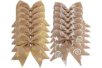 (Gold+silver) - Aokbean 12 pcs Snowflakes Natual Burlap Bows Christmas Tree Topper Bow Rustic Wedding Decor Burlap or DIY Supplies (Gold+Silver)