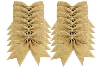 (Burlap) - Aokbean 12 pcs Snowflakes Natual Burlap Bows Christmas Tree Topper Bow Rustic Wedding Decor Burlap or DIY Supplies (Burlap)