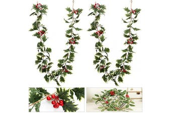 ANPHSIN 2 Pcs 1.7m Christmas Red Berry Garland with White-Edged Leaves- Artificial Xmas Red Berry Garland for Home Winter Indoor Outdoor Garden Gate Decoration New Year Holiday Fireplace Decor