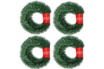 Artiflr 4 Strands Christmas Garland, Total 24m Artificial Pine Garland Soft Greenery Garland for Holiday Wedding Party,Stairs,Fireplaces Decoration, Outdoor/Indoor Use