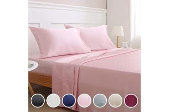 (Queen, Pink) - Vonty Satin Sheets Queen Size Silky Soft Satin Bed Sheets Pink Satin Sheet Set, 1 Deep Pocket + 1 Fitted Sheet + 1 Flat Sheet + 2 Pillowcases