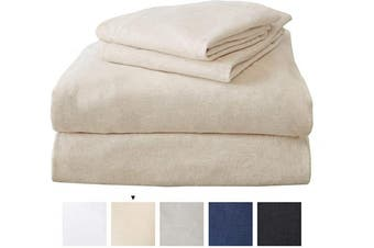 (King, Oatmeal) - Great Bay Home King Jersey Knit Sheets. All Season, Soft, Cosy Flannel Jersey T-Shirt Sheet Set. Cotton Blend Jersey Sheets. Cosy Flex Collection (King, Oatmeal)