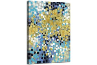 (60cm  x 46cm  x 1 panel, Square) - Abstract Painting Canvas Wall Art: Gold Squares Picture Hand Painted Artwork on Canvas for Office (46cm x 60cm x 1 Panel)