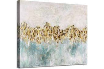(60cm  x 46cm  x 1 panel, Teal) - Abstract Canvas Wall Art Painting: Gold Foil Picture Artwork Painted for Living Room (60cm x 46cm x 1 Panel)