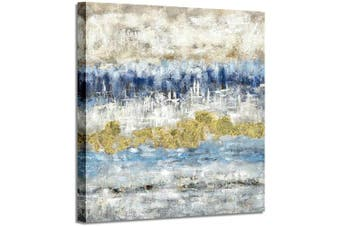(90cm  x 90cm  x 1 panel, Blue & Gray) - Abstract Canvas Painting Wall Art: Modern Golden Picture Artwork Hand Painted on Canvas for Bedroom (90cm x 90cm x 1 Panel)