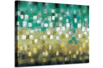 (90cm  x 60cm  x 1 panel, Green&yellow Hand Painted) - Artistic Path Abstract Canvas Artwork Wall Art: Green & Yellow Picture Modern Painting on Canvas for Living Room (90cm x 60cm x 1 Panel)