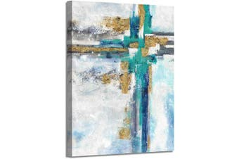 """(60cm  x 46cm  x 1 panel, Abstract) - Modern Abstract Picture Wall Art: Contemporary Gold Foil Artwork Painting on Canvas for Office (24"""" x 18"""" x 1 Panel)"""