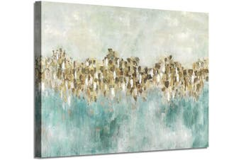 (90cm  x 60cm  x 1 panel, Teal Hand Painted) - Abstract Canvas Wall Art Picture: Gold & Green Artwork Hand Painted Abstract Painting for Wall (90cm x 60cm x 1 Panel)