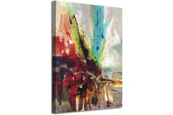 (60cm  x 46cm  x 1 panel, Red) - Abstract Picture Canvas Wall Art: Colourful Artwork with Gold Foil Painting Print on Canvas for Office or Living Room (60cm x 46cm x 1 Panel)