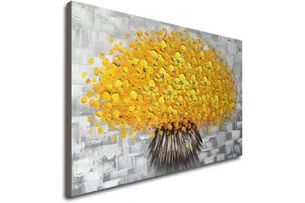 (90cm  x 60cm , Yellow) - Winpeak Art Hand Painted Modern Textured Yellow Flower Oil Painting on Canvas Abstract Floral Artwork