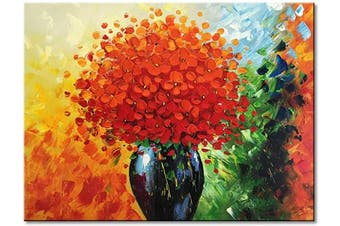 (90cm  x 60cm , Red) - Hand Painted Modern Textured Red Flower Oil Painting on Canvas Abstract Floral Artwork