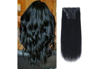 (140G 60cm , 1#) - ABH AmazingBeauty Hair 140 Grammes Clip in Hair Extensions, Remy Human Hair, 7 Pieces with 18 Clips, Jet Black Colour 1, 60cm