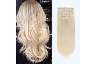 (120G 46cm , 60#) - ABH AmazingBeauty Hair 120 Grammes Clip in Hair Extensions, Remy Human Hair, 7 Pieces with 18 Clips, Platinum Blonde Colour 60, 46cm