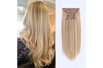 (140G 60cm , P12-60#) - ABH AmazingBeauty Hair 140 Grammes Highlighted Clip in Hair Extensions, Remy Human Hair, 7 Pieces with 18 Clips, Dark Dirty Blonde with Platinum Blonde Highlights P12-60, 60cm
