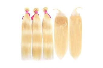 (18 20 22+16, 613 Bundles with Closure) - Aopusi 613 Closure with 3 Bundles Brazilian Blonde Straight Hair Bundles with Closure 100% Virgin Straight Remy Hair Weft Human Hair Bundles with Transparent Colour Lace Closure(18 20 22+16,#613)