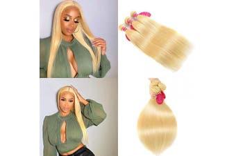 (16 16 16, 613 Bundles) - Aopusi Bleached Blonde Bundles Brazilian Straight Hair Weave Human Hair 613 Blonde Straight Hair Weft Honey Blonde 3 Bundles/Lot(16 16 16,#613)