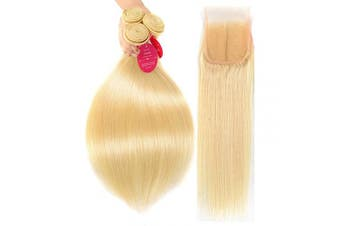 (20 22 24+18, 613 Bundles with Closure) - 613 Hair Bundles with Closure Straight 613 Honey Blonde Bundles with Lace Closure Brazilian Hair Weave Bundles Human Hair Bundles with Closure Virgin Hair Weft 150% Density(20 22 24+18, 613)