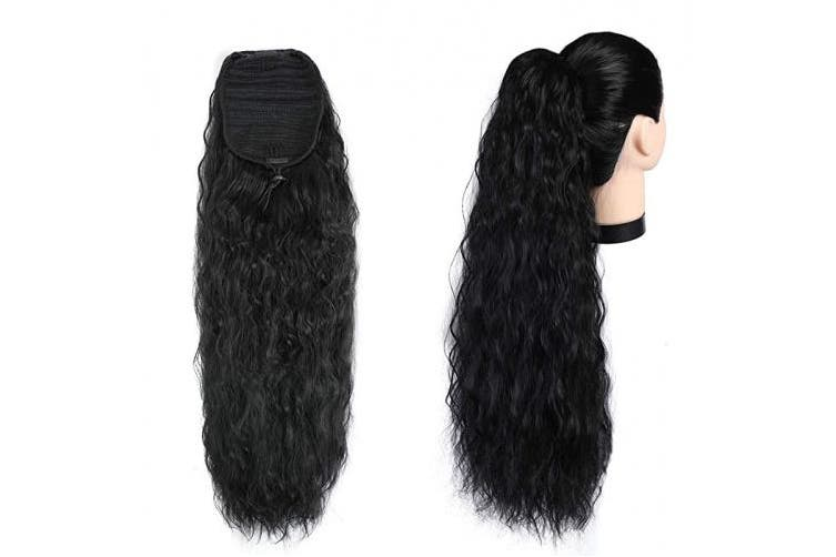 (Corn Wave Ponytail) - Rosa Star Long Corn Wave Drawstring Ponytail Hairpiece Synthetic Black Colour Wavy Curly 60cm Heat Resistant Ponytail Extensions for Women