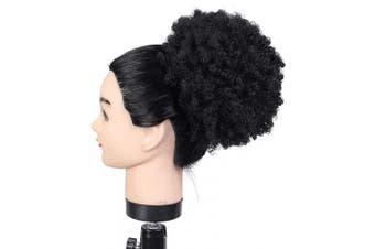 (#1b) - Drawstring Afro Ponytail Short Synthetic Extensions Kinky Puff Ponytail for Women, Average Size, 1b, Natural Black